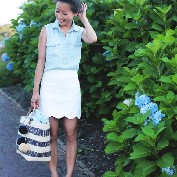 Topshop White Scalloped Hem Skirt